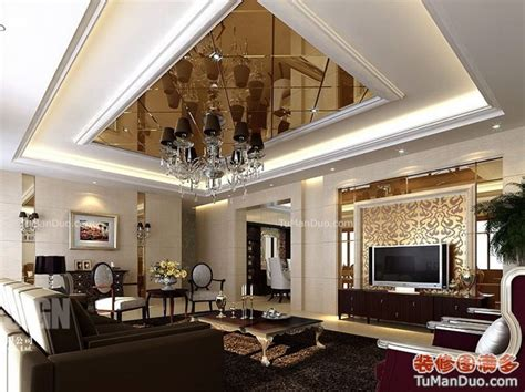 luxury home decoration 欧式客厅效果图电视墙 装修图满多