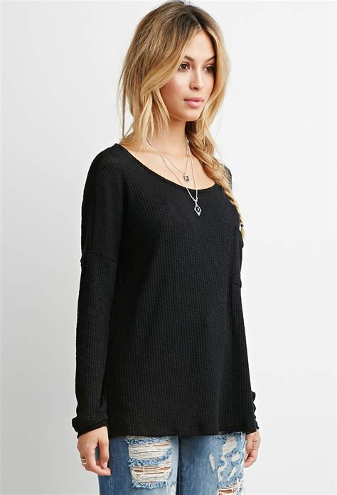 forever 21 knit top forever 21 textured ribbed knit top in black lyst
