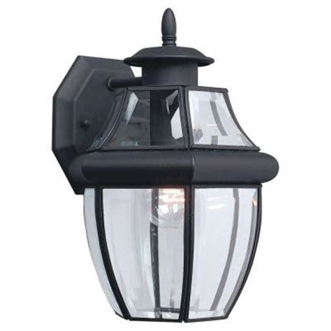 outdoor light fixtures home depot sea gull lighting lancaster 1 light black outdoor wall