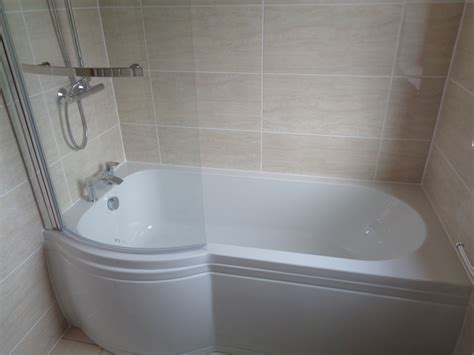 shower or bath remove corner bath and fit p shaped shower bath