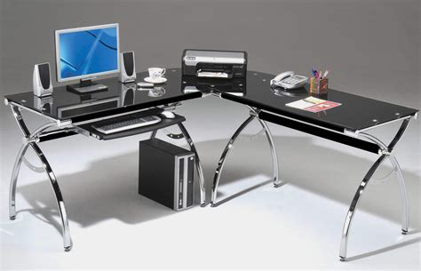 black l shaped computer desk rta products techni mobili corner l shaped black glass computer desk with chrome frame