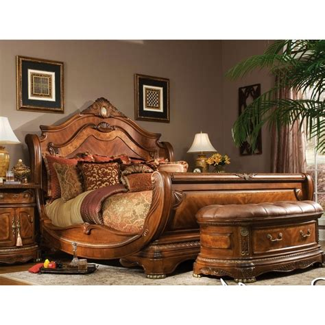 sleigh bed set aico cortina king size sleigh bed bedroom set in honey