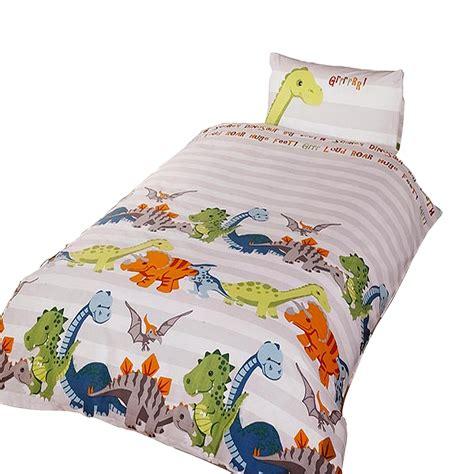dinosaur bedding set dinosaur childrens boys duvet cover bedding set ebay