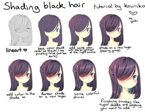 how to shade hair shading black hair by kouriiko on deviantart