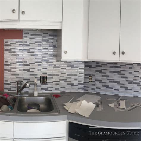 backsplash sticky tiles diy kitchen backsplash with sticky tiles the glamourous