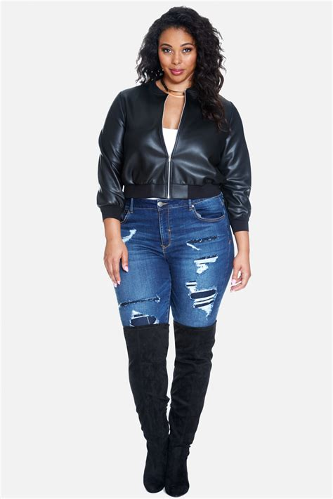 plus size leather jackets for plus size calyx faux leather bomber jacket fashion to figure