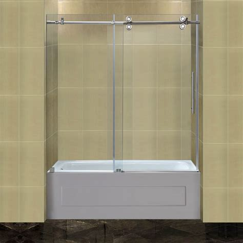 aston completely 60 quot x 60 quot sliding frameless tub height