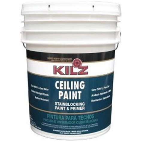 home depot 5 gallon interior paint kilz white flat 5 gal interior stainblocking ceiling paint and primer 68100 the home depot