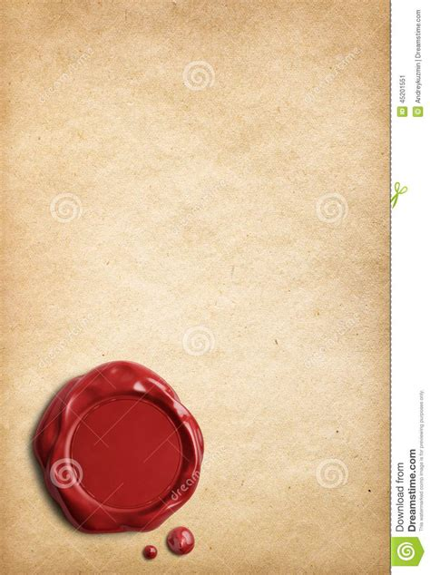 sealing paper parchment paper with wax seal stock photo image