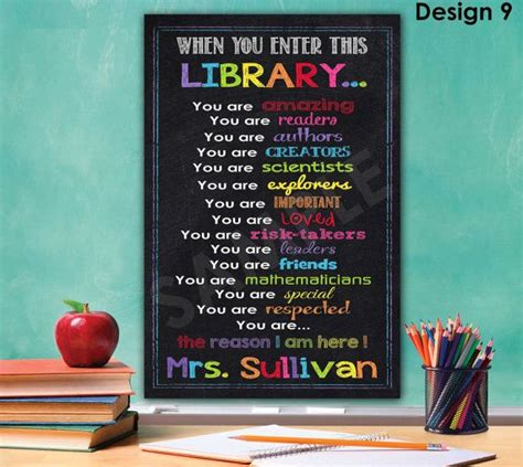 library decoration library sign library decor librarian gift library