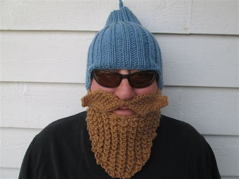 knitted beard ready to ship beard hat beard beanie by ritaknitsall