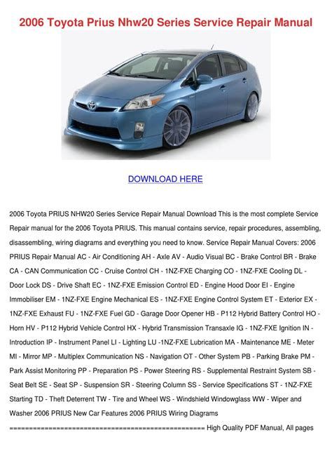 car repair manuals online pdf 2006 toyota prius engine control 2006 toyota prius nhw20 series service repair by reynaldopena issuu