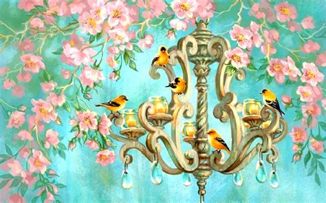 wallpaper chandelier birds chandelier pink flowers wallpapers birds