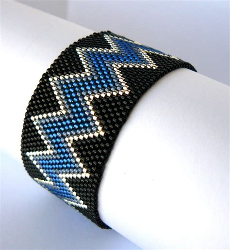 beaded cuff bracelet blue and black beadwork bracelet chevron beaded cuff bracelet
