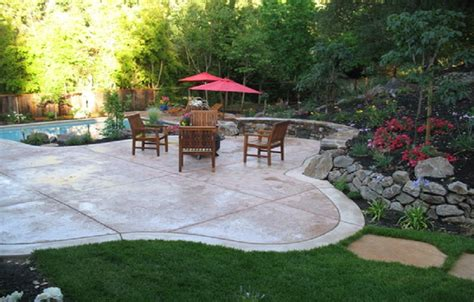 sted concrete patio designs cement backyard ideas creating patios driveways pathways