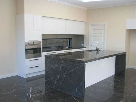 Homestyles Kitchen Island polished pietra grey marble benchtop and honed pietra grey