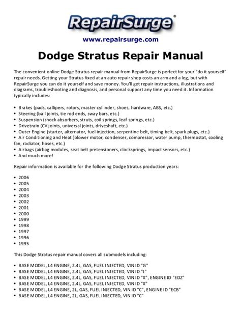service manual repair voice data communications 1995 dodge avenger on board diagnostic system dodge stratus repair manual 1995 2006