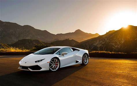 Car Sunset Wallpaper by Lamborghini Huracan Lp640 4 White Supercar At Sunset
