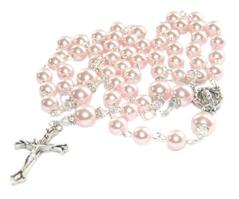 pink rosary pink pearl s catholic rosary option to personalize
