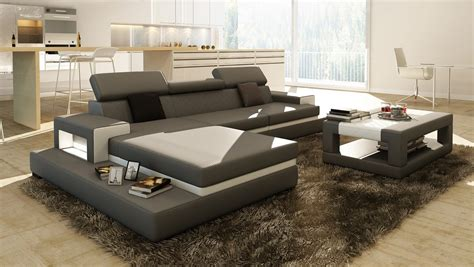 coffee tables for sectional sofas divani casa 5081b grey and white leather sectional sofa w