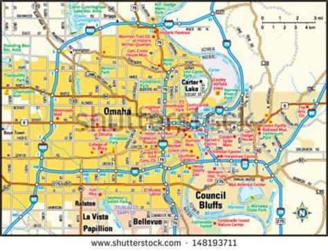 omaha rubber st omaha nebraska area map stock vector