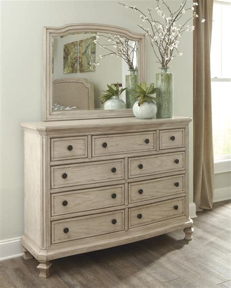 distressed white bedroom furniture demarlos bedroom mirror by millennium
