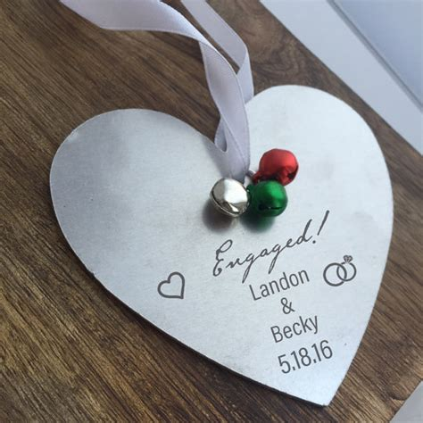 ornament for engagement engaged ornament personalized engagement by sierrametaldesign