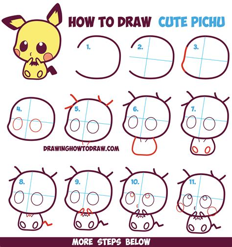 how to draw for beginners how to draw kawaii chibi pichu from in