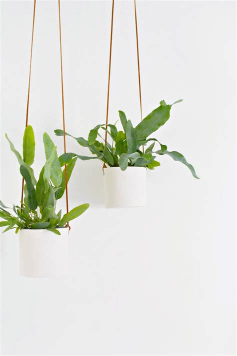 hanging plant diy leather and clay hanging planters burkatron