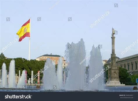 water and flag waves statue of