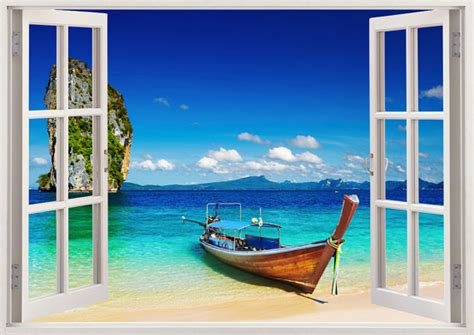 Relaxing Wall Murals tropical beach wall sticker 3d window boat wall decal for