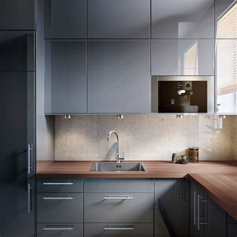 grey gloss kitchen cabinets faktum kitchen with abstrakt grey high gloss doors drawers