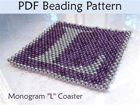 beading patterns pdf peyote monogram l coaster pdf beading pattern by