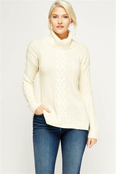 cable knit jumper roll neck cable knit jumper just 163 5