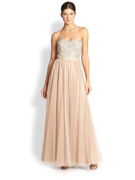 aidan mattox beaded aidan mattox strapless beaded tulle gown in gold lyst