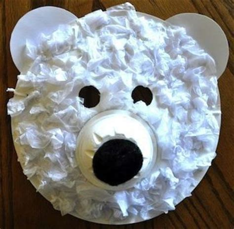 paper plate polar craft preschool crafts for polar paper plate mask