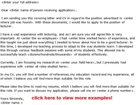 cover letter sample for lecturer job application lecturer job application letter examples learnist org