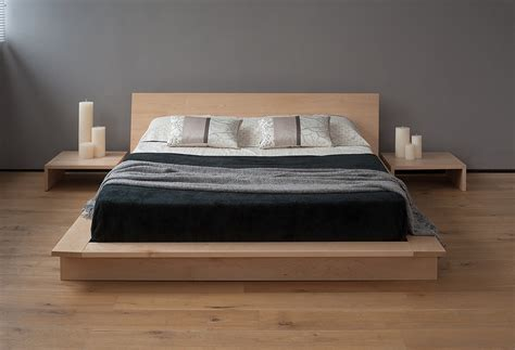 japanese low bed frame diy platform bed with floating nightstands