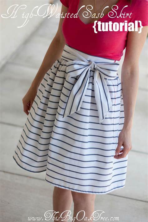 waist diy this big oak tree high waisted sash skirt tutorial