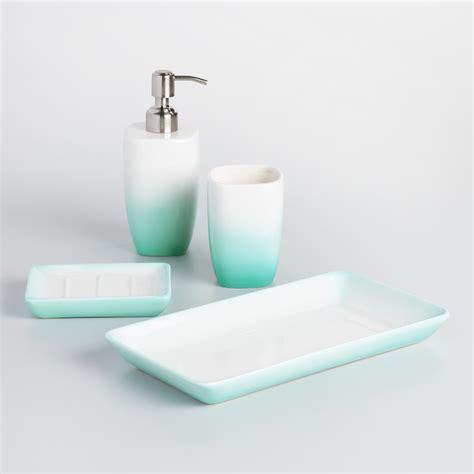 bathroom accessories ceramic aqua ombre ceramic bath accessories collection world market