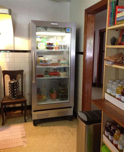 refrigerator with glass door for homes a kitchen with stainless steel cabinets it looks better