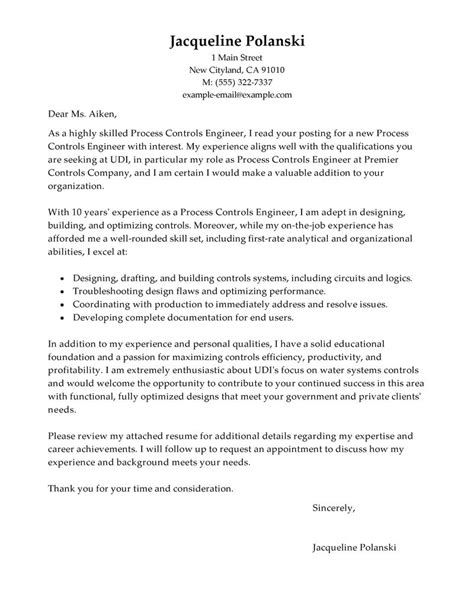 best process controls engineer cover letter examples