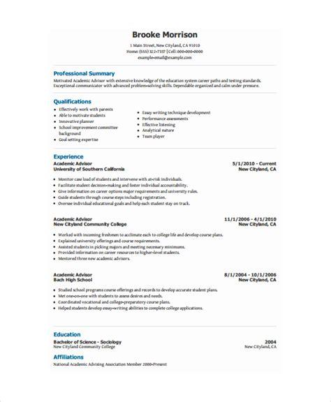 academic resume template 6 free word pdf document