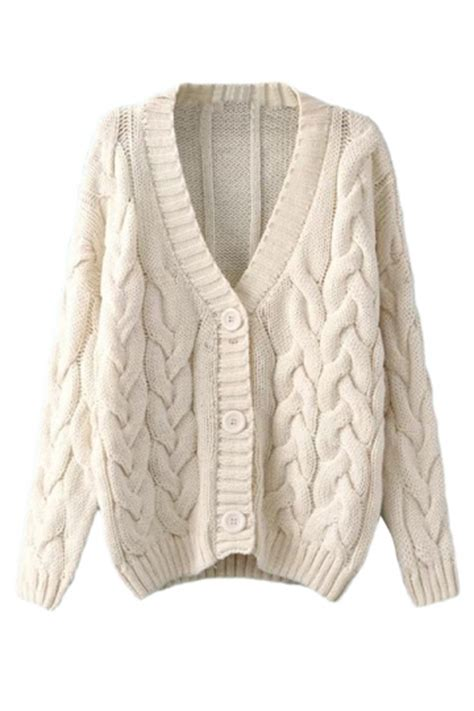 womens cable knit beige white warm womens cable knit vintage plain cardigan