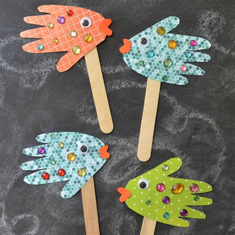 puppet crafts for handprint fish puppets blitsy
