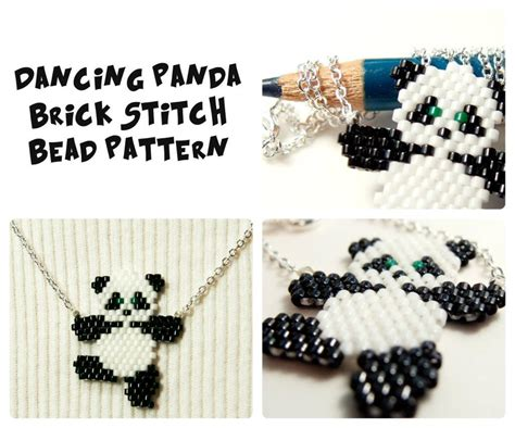 beaded panda 5 name jewelry panda brick stitch pattern