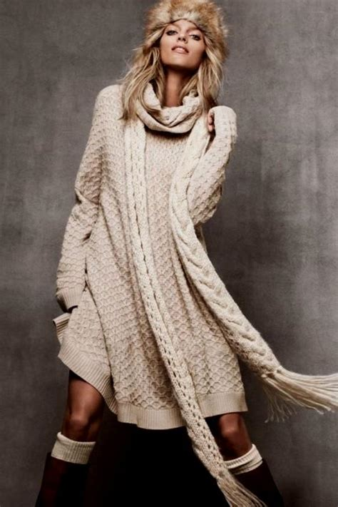 knit clothing sweater knit dress in sweater and boots