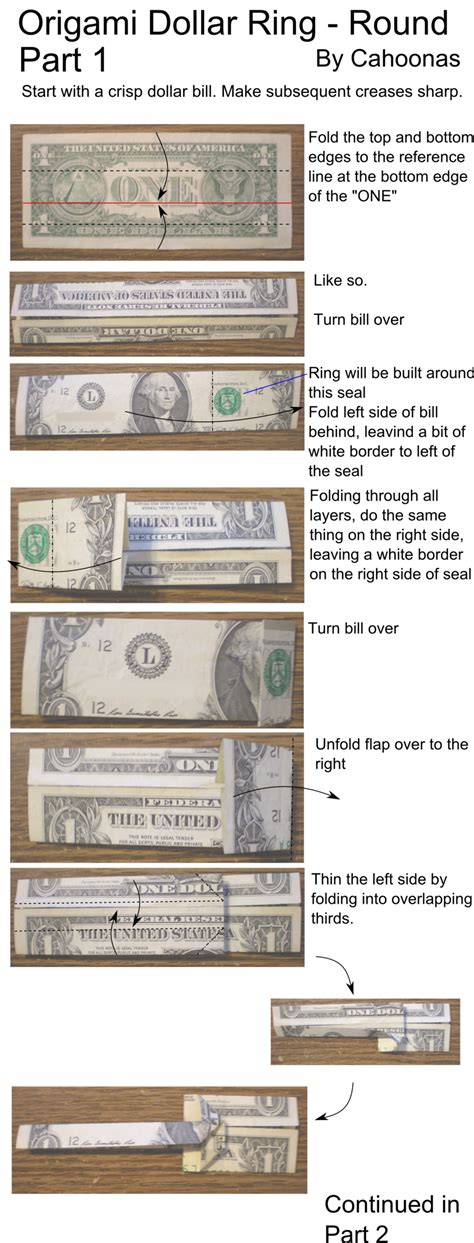 step by step dollar bill origami origami ring part 1 by cahoonas on