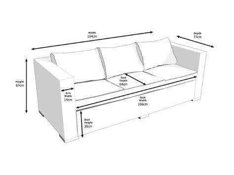 3 seat sofa dimensions ascot 3 seat outdoor rattan sofa in grey