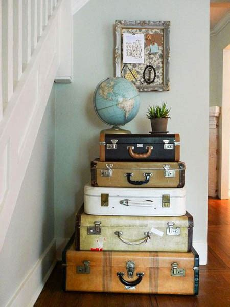 retro style decorations vintage furniture made of suitcases room decorating